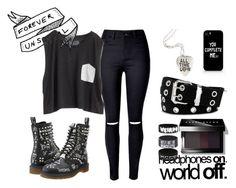 """""""Untitled"""" by choice-to-be ❤ liked on Polyvore featuring Blondes Make Better T-Shirts, Dr. Martens, Relic, Samsung and Bobbi Brown Cosmetics"""
