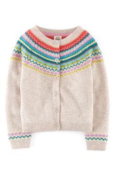 Mini Boden Fair Isle Cardigan (Toddler Girls, Little Girls & Big Girls) Mini Boden, Cardigan Au Crochet, Cardigan Bebe, Knitting For Kids, Crochet For Kids, Baby Knitting, Motif Fair Isle, Fair Isle Pattern, Toddler Cardigan