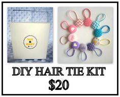 Diy hair tie kit Diy Hairstyles, Hair Ties, Kit, Frame, Products, Ribbon Hair Ties, Picture Frame, Frames, Gadget