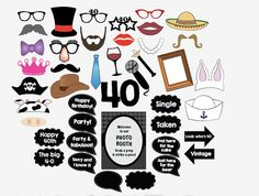digital 40th birthday photo booth props forty by redmorningstudios