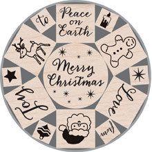 Merry Christmas Tin Wooden Stamp Set