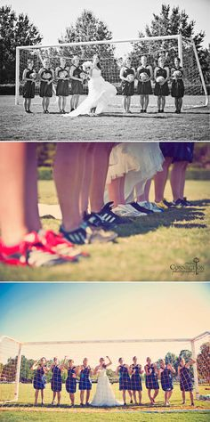 soccer cleats instead of heals. AWESOME!!! I've actually thought of getting married on a soccer field or near one Lol.