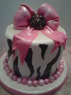 BIG BOW ZEBRA PRINT CAKE  by CAKES BY SUE, via Flickr Zebra Print Cakes, Beauty Treats, Big Bows, Favorite Recipes, Party Ideas, Animal, Desserts, Food, Tailgate Desserts