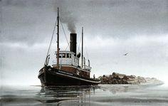 """RICHARD HOLYOKE Towing a Bundle Raft"" - Watercolor, in Tugboat Paintings"