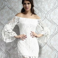 Women's Speaker Sleeve Boat Neck Sexy Lace Dress