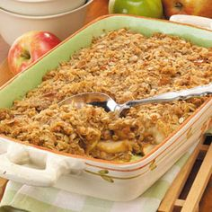 Caramel Apple Crisp - Kind of hard work but it's definately worth it. The caramel is the secret ingredient that makes it so wonderful. I used a bag of Kraft Caramel Bits. It beats unwrapping and cutting up all of those squares!