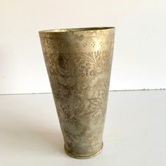Vintage Old North Indian Brass Engraved Flower Design Lassi Glass Islamic Cup