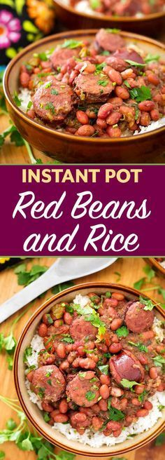 instant pot recipes Instant Pot Red Beans and Rice With Sausage is a flavor packed, spicy New Orleans traditional meal. This pressure cooker Red Beans and Rice dish has lots of flavor, and you can make it from dry beans in just over an hour! Bean Recipes, Sausage Recipes, Cooking Recipes, Rice Recipes, Pork Recipes, Instant Pot Pressure Cooker, Pressure Cooker Recipes, Pressure Cooking, Red Beans And Rice Recipe Pressure Cooker