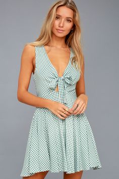 e2793cb832 Feeling Good White and Sage Green Gingham Tie Front Skater Dress