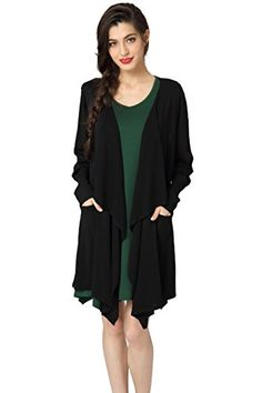 Abollria Cardigans for Women Lightweight Long Sleeve Waterfall Open Front  Midi Long Cardigan with Pockets   7daf14afc