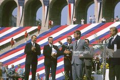 US Attorney General Robert F. Kennedy appears at the USA v USSR Dual Track & Field Meet at Los Angeles Memorial Coliseum in August 1964 in Los Angeles, California.