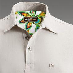 Mens Golfing Shirts & Polos by Loudmouth Golf - Beige Shag White.  Buy it @ ReadyGolf.com