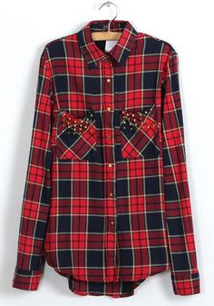 Red Plaid Rivet Lapel Cotton Blend Blouse