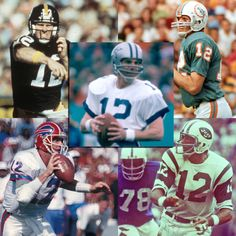 Seven Hall of Famers have worn the number 12. Five (pictured) as their primary number - Terry Bradshaw, Bob Griese, Jim Kelly, Joe Namath, and Roger Staubach. Click on the image for the complete list of Hall of Famers by jersey number. #121212