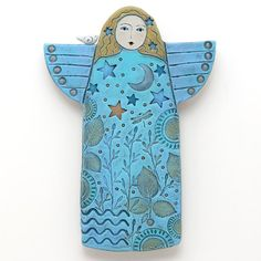 Angel, Handmade Ceramic Angel, Home Decor, wall art, stars, moon, bird