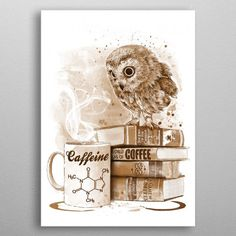 Coffee Obsession poster by from collection. By buying 1 Displate, you plant 1 tree. Beaux Arts Architecture, Coffee Games, Owl Artwork, Owl Illustration, Coffee Poster, Book Posters, Poster Prints, Art Prints, Easy Drawings