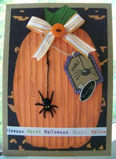 """Cute Halloween """"EEKS"""" Pumpkin And Spider Card...Ann - Cards and Paper Crafts at Splitcoaststampers."""
