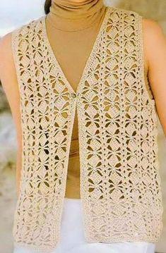 Chaleco puntada Cuadritos a Crochet