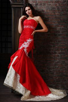 Gorgeous Bi-Color Mermaid Wedding Dress Features Delicate Applique.