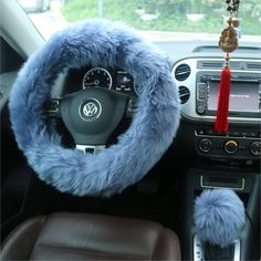 Ogrmar Winter Warm Faux Wool Steering Wheel Cover with Handbrake Cover & Gear Shift Cover for X Steeling Wheel in Diameter 1 Set 3 Pcs (Grey-blue) Jeep Wrangler Bumpers, 2000 Jeep Wrangler, Car Steering Wheel Cover, Steering Wheels, Truck Bed Covers, Cute Car Accessories, Accessories Online, Tonneau Cover, Unique Gifts For Women
