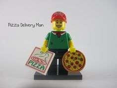 LEGO Series 12 Pizza Delivery Man Lego Man, Pizza Delivery, Delivery Man, Lego Movie, The Simpsons, Legos, Have Fun, Lego, Pizza Home Delivery