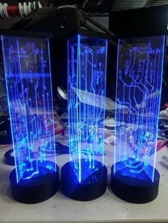 These are totally awesome DIY lighted, circuit board centerpieces.