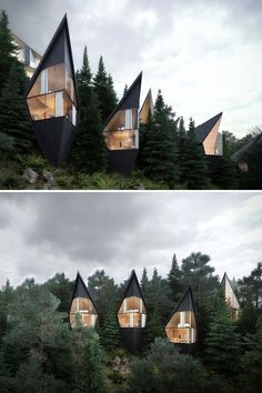 Peter Pichler Architecture has designed prism-shaped treehouses nestled in the forest of the Italian Dolomites.