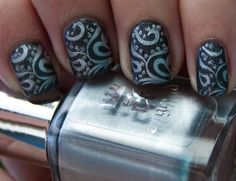 Base Colour : China Glaze, Stone Cold  Stamping : a-england, Excalibur  Dots: Elixir Lacquers, A Cool Fool  MoYou plate 81