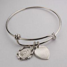 Scallop Edge Miraculous Medal Bangle Bracelet w/Heart by McVan