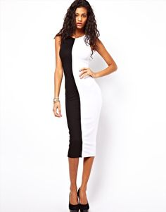 Image 1 of ASOS Body-Conscious Dress With Mono Panels.