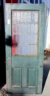 ANTIQUE AMERICAN STAINED GLASS DOOR ~great old paint.