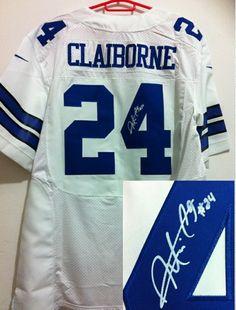 Men s Nike Dallas Cowboys  24 Morris Claiborne Autographed Elite Jersey- White b5688eed3