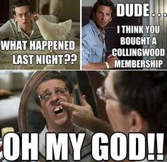 Collingwood membership side effects. Nrl Memes, Rugby Memes, Football Memes, Sports Memes, Australian Memes, Aussie Memes, Funny Football Pictures, Funny Pics, Funny Stuff