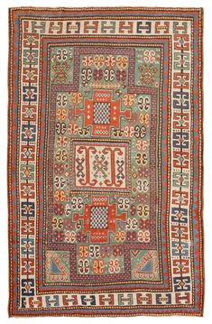 Antique Kazak Rug, Caucasus, Late 19th Century - This late 19th century Kazak rug features a series of angular medallions heavily decorated with colorful protection symbols. Double ram's horn motifs decorate the central medallion & dot the rare jade green field of this Kazak rug from the Caucasus. Symbolic berekets & checkerboard patterns unify the field with the recessed borders & decorative medallions. Colorful borders decorated with double ram's horn motifs... Size: 4 ft 7 in x 7 ft 1 in