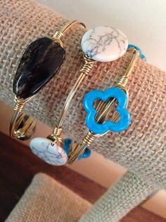 Wire Wrapped Bangles (set of 3) Bourbon And Boweties Inspired! #Handmade #Bangle
