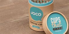 JOCO packaging for their reusable glass coffee cups. They even include tips on how to reuse the packaging. Nice!