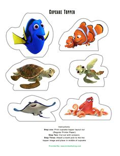 """Finding Dory"" is sure to be a blockbuster movie for Disney/Pixar!!! So we put together a set of ""Finding Dory Cupcake Toppers"" that includes several of the characters in this film. Our Finding Dory cupcake toppers and decorations are a must for any Finding Dory party or to use to make a special treat for the …"