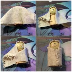 Baby Jesus Crafts | nativity baby jesus mary and joseph spool doll nativity baby jesus ...could make recycling cleaned out pill bottles