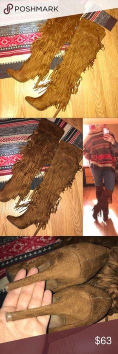 Over the knee boho fringe boots vegan Suede 6.5 over the knee cognac colored fringed high heeled boots • The brand is nature breeze • size 6.5 • soft faux suede • excellent condition only worn a couple times Please see the rest of my closet and bundle for discounts! Nature Breeze Shoes Over the Knee Boots