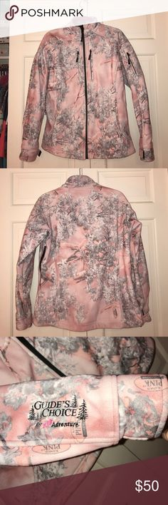 NEW! Guide's Choice for Her Camo Jacket, Size M NEVER WORN! Heavy jacket, light pink with snow camo--King's PINK Shadow. 4 front pockets and one bicep pocket on left arm. 2 front pocket are on chest with zipper closures and are huge! 2 other pockets in normal placement are also very roomy. Bicep pocket is bigger than you'd expect and also has a zipper closure. Adjustable cuffs. Originally $75, reselling for $50. Comes from a smoke-free home :) Guide's Choice for Her Adventure Jackets & Coats
