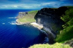 Cliffs of Moher- Blue water, green Irish country side, definitely a must see