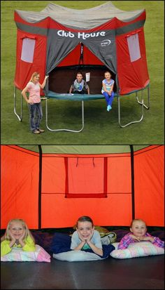 http://amzn.to/1T87iwI  Got a trampoline? Now you can also give the kids an instant club house with this Club House Trampoline Cover!   It is a one-piece, weather-resistant cover that fits all Kinetic and Propel 12' trampolines with six enclosure poles. It has a zippered entrance and three screened windows with adjustable covers for good ventilation.   Your kids will love this awesome tent for trampolines. They can stay safe inside, even when it's raining!: