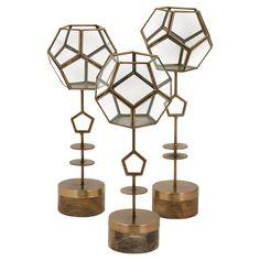 GIMME.  IMAX Jada Terrarium Stands - Set of 3 | from hayneedle.com @hayneedle #terrarium #gold #geometric #chic #cool #decor #metallic