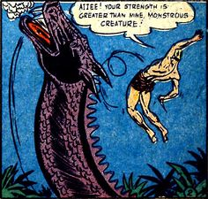 Jungle Jo seems surprised by this news, from 'Blue Bolt Weird Tales' No.116