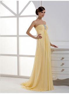 Beautiful Strapless Applique Empire Evening Dress