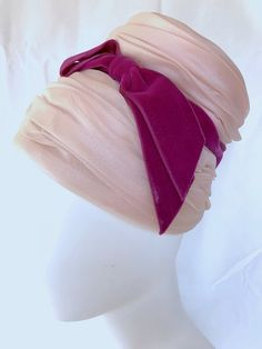 a759a209702 G HOWARD HODGE Mid Century 1950s 1960s Mod Turban   Bonnet w Velvet Bow    Tiered Pink Chiffon - Festive Fancy Mad Men Kentucky Derby