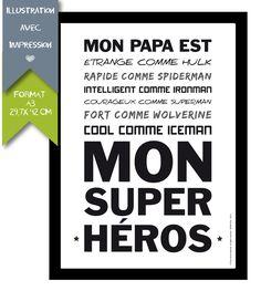Affiche Imprimée - Super Héros Papa - Format A3 : Affiches, illustrations, posters par affiche-rgb4you