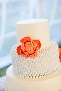 "Change the orange to the ""poppy"" color.... and make under the ""pearls"" tiffany blue... leave the top layer white..... although I don't think this size cake will be big enough for our shin-dig....... ;-)"