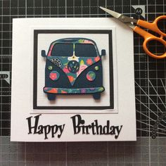 You've just got to ❤️ the VW Campervans. I had fun playing with the design for these cards Birthday Cards For Son, 16th Birthday Card, Sons Birthday, Handmade Birthday Cards, Diy Birthday, Cards For Men Handmade, Greeting Cards Handmade, Your Cards, Diy Cards