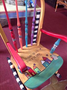 Hand-painted rocking chair.                                                                                                                                                                                 More